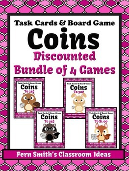 Money Task Cards and Board Game for Coins BUNDLE Recording Sheets Included