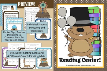 Groundhog Center Games for Time, Rhyming Words and Syllable Sorts