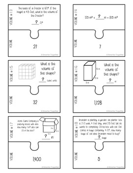 Volume of Rectangular Prisms Puzzle Activity