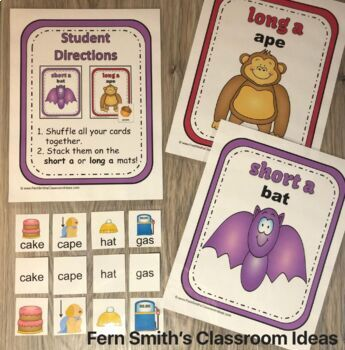 Vowel Sorting - Short a Short u Long a Long u Center Games, Printables and More