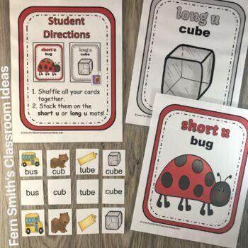 Vowel Sorting - Short e Short u Long e Long u Center Games, Printables and More