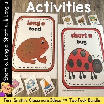 Vowel Sorting - Short o Short u Long o Long u Center Games, Printables and More