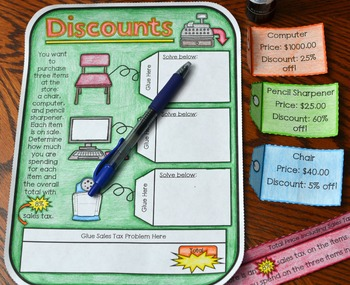 Discounts Foldable (Great for math interactive notebooks)