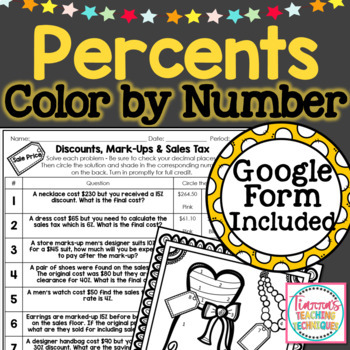 Discounts Mark Ups and Sales Tax Worksheet Color by Solution