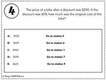 Discounts, Mark-Ups, Percentage Increase & Decrease: Scavenger Hunt