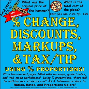 Markup Percent, Discount, Percent Change (Increase/Decrease), Tax and Tip Unit
