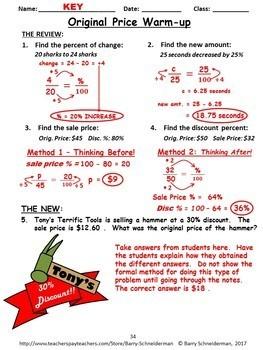 Markup Percent, Discount, Percent Change (Increase/Decrease), Tax and Tip Unit