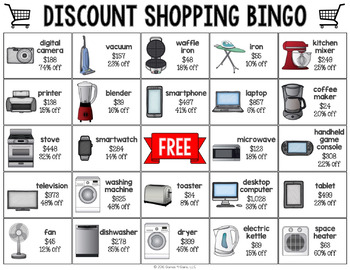 6th Grade Math Review: Percent Discount Shopping Bingo {6.RP.3, 6.RP.3C}