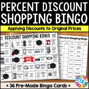 Applying Discounts Math Activity: Percent Discount Shopping Bingo
