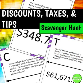 Discounts Taxes And Tips Scavenger Hunt By The Math Factory Tpt