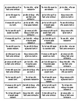 Discours indirect (Indirect discourse in French) Dominoes