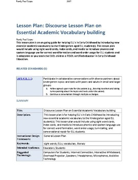 Discourse Lesson Plan on Essential Academic Vocabulary building
