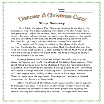 Discover A Christmas Carol! Middle School Worksheets