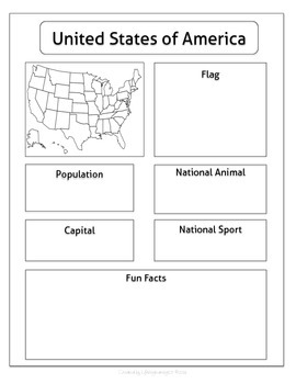 Discover America: Graphic Organizer Research Activity Worksheets