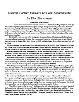 Discover Harriet Tubman quick text, comprehension questions, math word problems