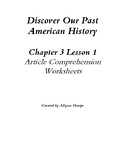 Discover Our Past: American History Ch3 Lesson 1 Article Comprehension Wks.