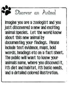 Discover an Animal Worksheet and Activity
