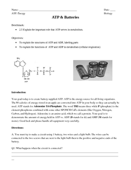 Discovering ATP and ADP Through the Use of Batteries (simple circuits)