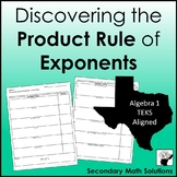 Exponents - Product Rule Discovery Activity (A11B)