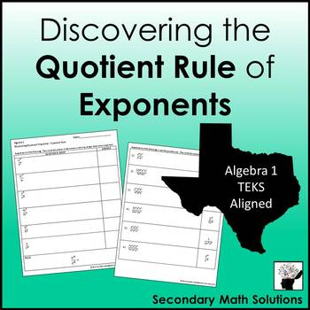 Exponents - Quotient Rule Discovery Activity (A11B)