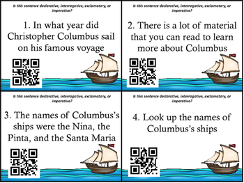 Columbus Day Four Types of Sentences Scoot Cards and INB Foldables