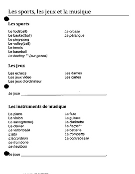 Discovering French 1 Bleu unit 5 lesson 15 sports games instruments jouer a de