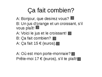Discovering French 1 Unit 2 ça fait combien?- Ordering food/ asking for price