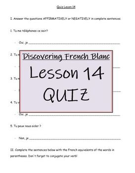 Discovering French Blanc - Lecon 14: QUIZ