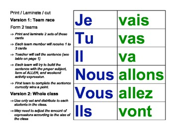 Discovering French Blanc - Living Sentences Unit 2 - Game