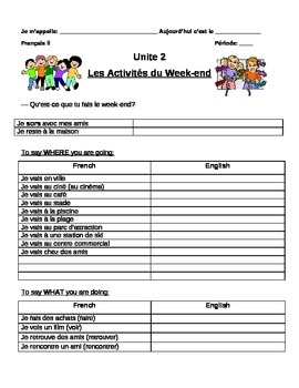 Discovering French Blanc: Unit 2:Les Activités du Weekend Vocabulary note sheets