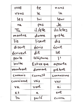 Discovering French Blanc rouge Double Object pronouns sentence scramble GAME