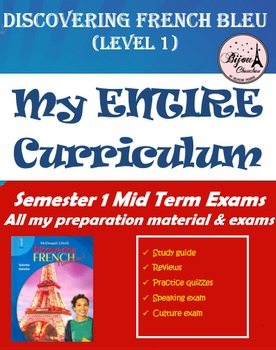 Discovering French Bleu Semester 1 Mid Term Final Exam Bundle