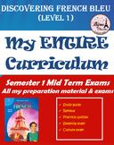 Discovering French Bleu Semester 1 Mid Term Exam Bundle