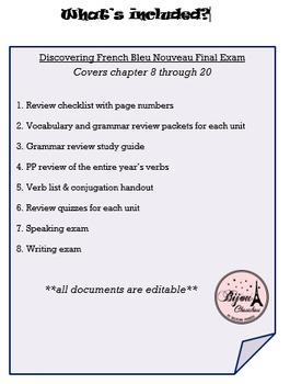 Discovering French Bleu Semester 2 Final Exam Bundle