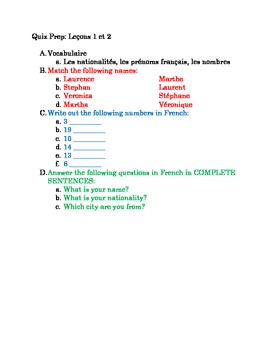 Discovering French Bleu (old) Unit 1 Notes and Quiz Review