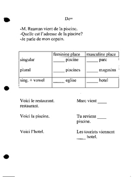 Discovering French Bleu unit 5 lesson 15 de contractions + article from of venir