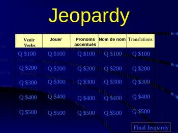 Discovering French Jeopardy:  Venir, jouer, stress pronouns lecon 15