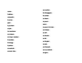 Discovering French Nouveau Blanc Unit 3 vocabulary list