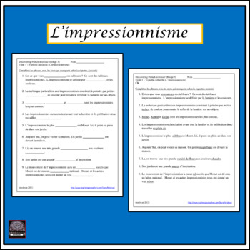 Discovering french rouge teaching resources teachers pay teachers discovering french nouveau rouge limpressionnisme listening activity fandeluxe
