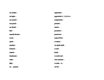 Discovering French Noveau Blanc Unit 2 Vocabulary list