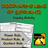 Discovering Laws of Exponents Inquiry Activity: Product, Quotient, & Power Rules