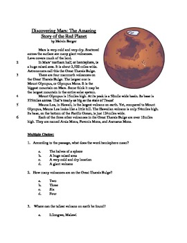 Discovering Mars - Informational Text Test Prep