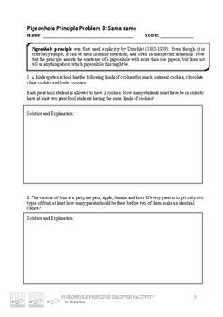 Discovering Pigeonhole Principle Activity worksheet
