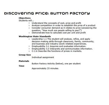 Discovering Price: Button Factory
