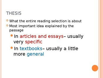 Discovering Thesis, Main Ideas, Supporting Details, and Transitions