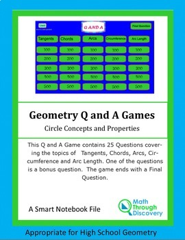 Smartboard Q and A Game - Circle Concepts and Properties
