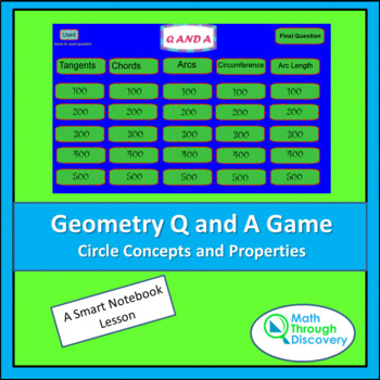 Geometry: Smartboard Q and A Game - Circle Concepts and Pr
