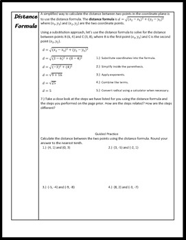 Discovering the Distance Formula Worksheet (Skills Practice Included)