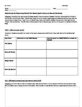 Discovering the Reasons Behind Pen Names Student Activity Packet
