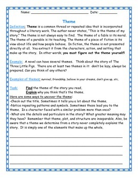 Discovering the Theme: worksheet for any novel